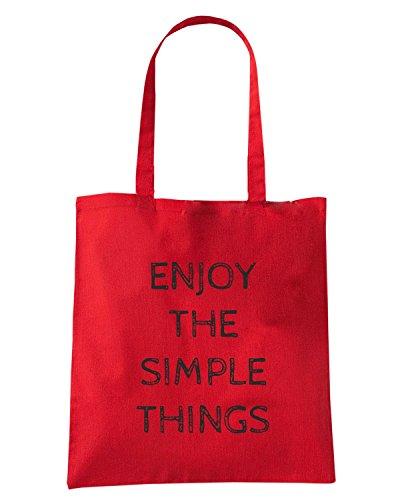T-Shirtshock - Bolsa para la compra ENJOY0091 ENJOY THE SIMPLE THINGS Rojo