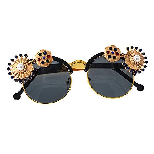 con Flor Playa Gafas Mujeres Que decoración Metal la viaja Joo Que la la la Verano Perla de del conducen Las del de Sol para Coloridas de barrocas Uv77Bd0wq