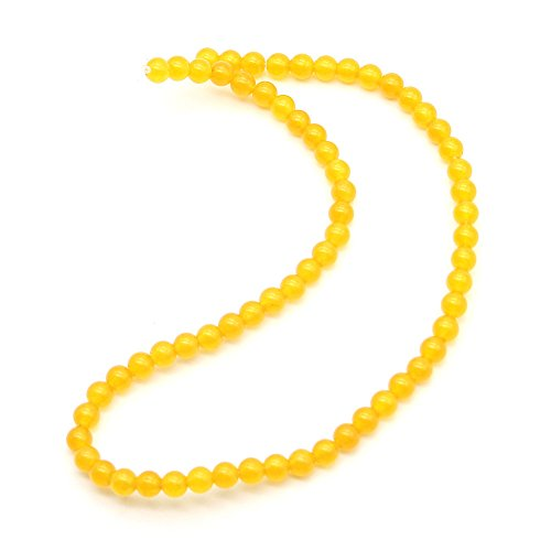 [A Piece of Yellow Round 4mm Bead Jade Bracelet Nacklace, 38cm in Length] (Yellow Jade Beaded Bracelet)