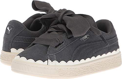 (PUMA Unisex Suede Heart Rubberized Kids Sneaker, Iron gate-Whisper White, 12.5 M US Little)