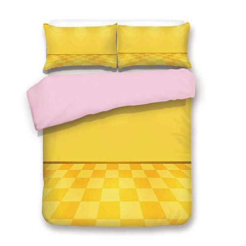 Pink Duvet Cover Set,Full Size,Shades of Lemon Yellow in Every Tone Chess Like Room with Lighting Image,Decorative 3 Piece Bedding Set with 2 Pillow Sham,Best Gift for Girls Women,Yellow and Cream -
