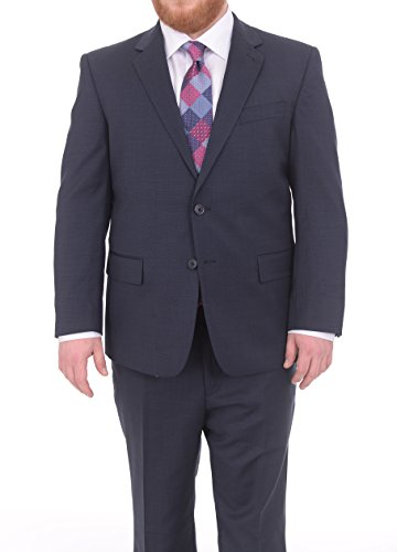 Lazetti Couture Portly Fit Navy Blue Textured Two Button Super 130's Wool Suit (130's Wool Super)