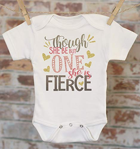 First Birthday She Is Fierce in Black Onesie®, Though She Be Little, 1st Birthday Outfit, Cute Baby Bodysuit, Pink Glitter Onesie -