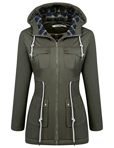 ELESOL Womens Military Hooded Warm Lined Parka Winter Anorak Jacket Coats