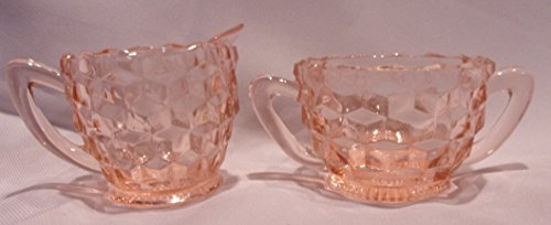 - Jeanette Glass Company Vintage Cubist Pattern Cream and Sugar Set, Pink