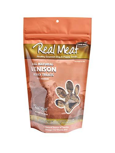 THE REAL MEAT COMPANY 828016 Dog Jerky Venison Treat, 12-Ounce (Real Meat Venison Jerky Dog Treats 12 Oz)