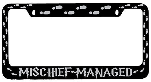 Mischief Managed (WRAP) Black Metal License Plate Frame Harry Potter (Harry Head Knight Bus Potter)