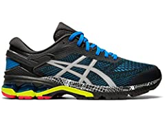 Enjoy luxurious comfort and improved bounce with the men's GEL-KAYANO 26 LS running shoe, featuring GEL technology to the forefoot and rear for high-density shock absorption and a comfortable feel over long distances. Featuring a jacquard mes...