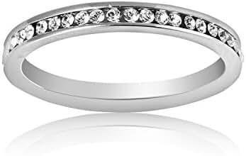 Plazar Women's Cubic Zirconia Wedding Engagement Band Ring US8