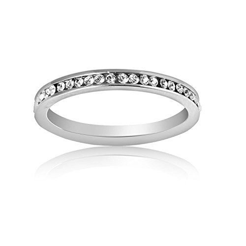 Plazar Women's Round with Clear Crystal Around the Ring US8