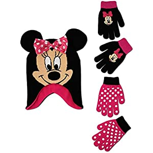 Disney Little Girls Minnie Mouse Polka Dot Hat and 2 Pairs Mittens or Gloves Cold Weather Accessory Set, Ages 2-7