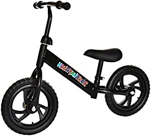 "RONSE 12"" Lightweight Balance Bike Children - Kids Bicycle No-Pedal Learn to Ride Bike Walking Partner with Height Adjustable Seat & Handlebar"
