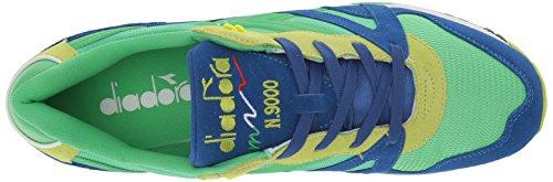 Diadora N9000 Männer runde Zehe synthetische blaue Turnschuhe Irisches Grün / Lime Punch