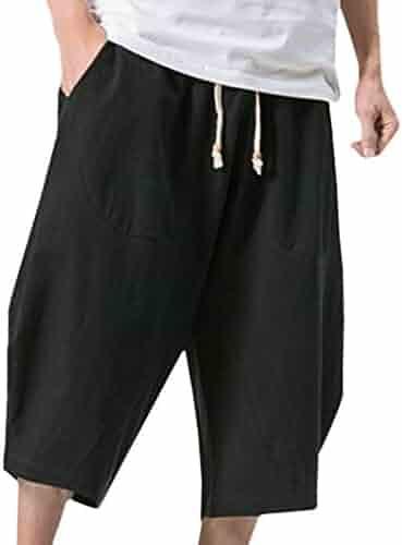 eea2ab42cb75 YuCheng(TM Men s Summer Elastic Waist Loose Baggy Linen Harem Shorts