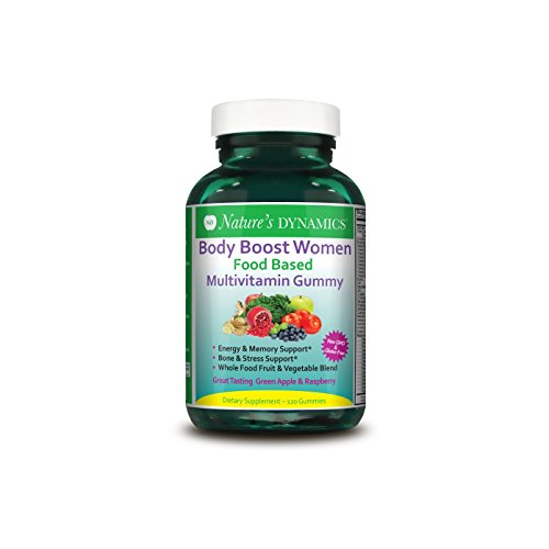 Women's Multivitamin Supplement Gummy - 120 Gummies - Certified Organic Fruit and Vegetable Blend, Plant Based Whole Food Formula - Body Boost By Nature's Dynamics