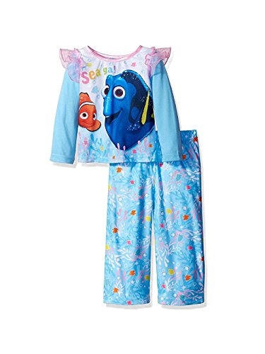 Finding Dory Nemo Toddler Girls Top with Flannel Pants Pajamas (4T, Sea Ya Blue)
