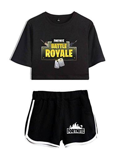 Completo Per nero5 Abbigliamento Shorts T Fortnite shirt E Crop Donne Ragazze Nero Zigjoy Top ORWUnw6