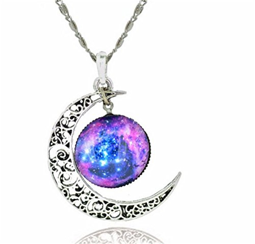 (GAMT Color Jewelry Fashion Moon Statement Necklace Glass Pendants Necklace Women Girls 1#)