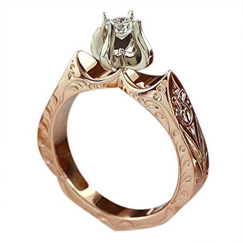 (Mysky Luxury Fashion Lady's Diamond Wedding Ring Engagement Lotus Flower Diamond)