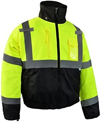 Class 3 Large Yellow OccuNomix LUX-250-JB-BYL High Visibility Quilted Black Bottom Bomber Jacket with 2 Front Pockets 100/% ANSI Polyester
