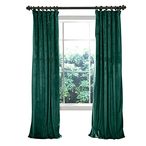 (TWOPAGES 52 W x 102 L Flat Hook Room Darkening Velvet Curtain Drapery Panel for Traverse Rod Or Track, Living Room Bedroom Meetingroom Club Theater Patio Door (1 Panel), Moss)