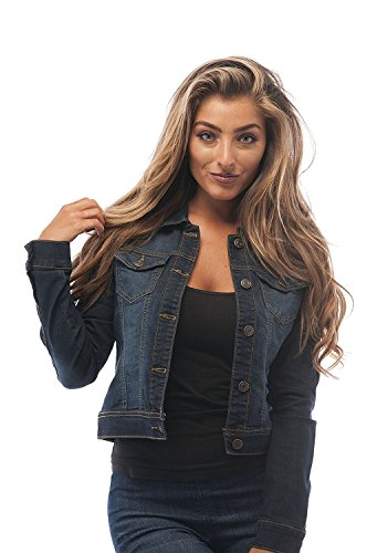 Hollywood Star Fashion Womens Basic Button Down Denim Jean Jacket (Small, DarkBlue)