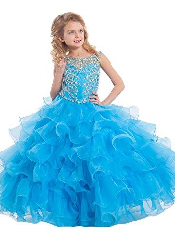 GreenBloom Girls' Organza Ruffled Hollow Sheer Back Party Dresses Blue 12