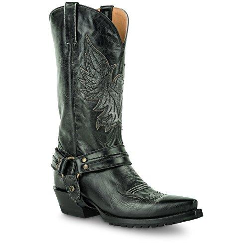 Roper Mens Cuir Mode Snip Toe Bottes De Cowboy Noir