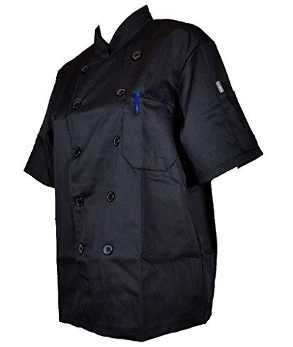 Avec Des A Manches Cuisine Courtes Moitié De Cuisinier Homme express Noir Poches Veste Femme Et wB7HOw