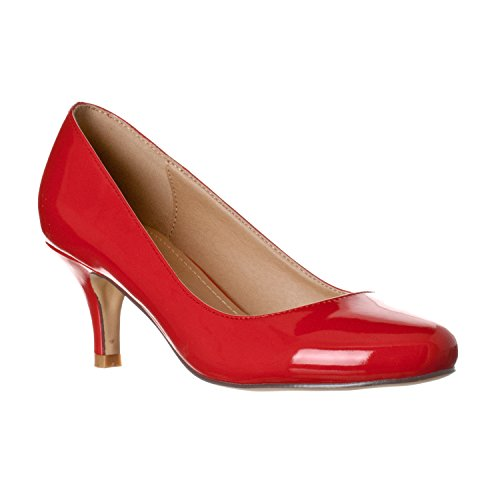 Riverberry Women's Ruby Round Toe, Kitten Low Height Pump Heels, Red Patent, 8 ()