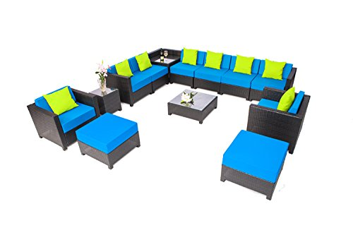 MCombo 13 Piece Luxury Black Wicker Patio Sectional Indoor Outdoor Sofa Furniture Set with Blue Cushion (Indoor Wicker Sectional)