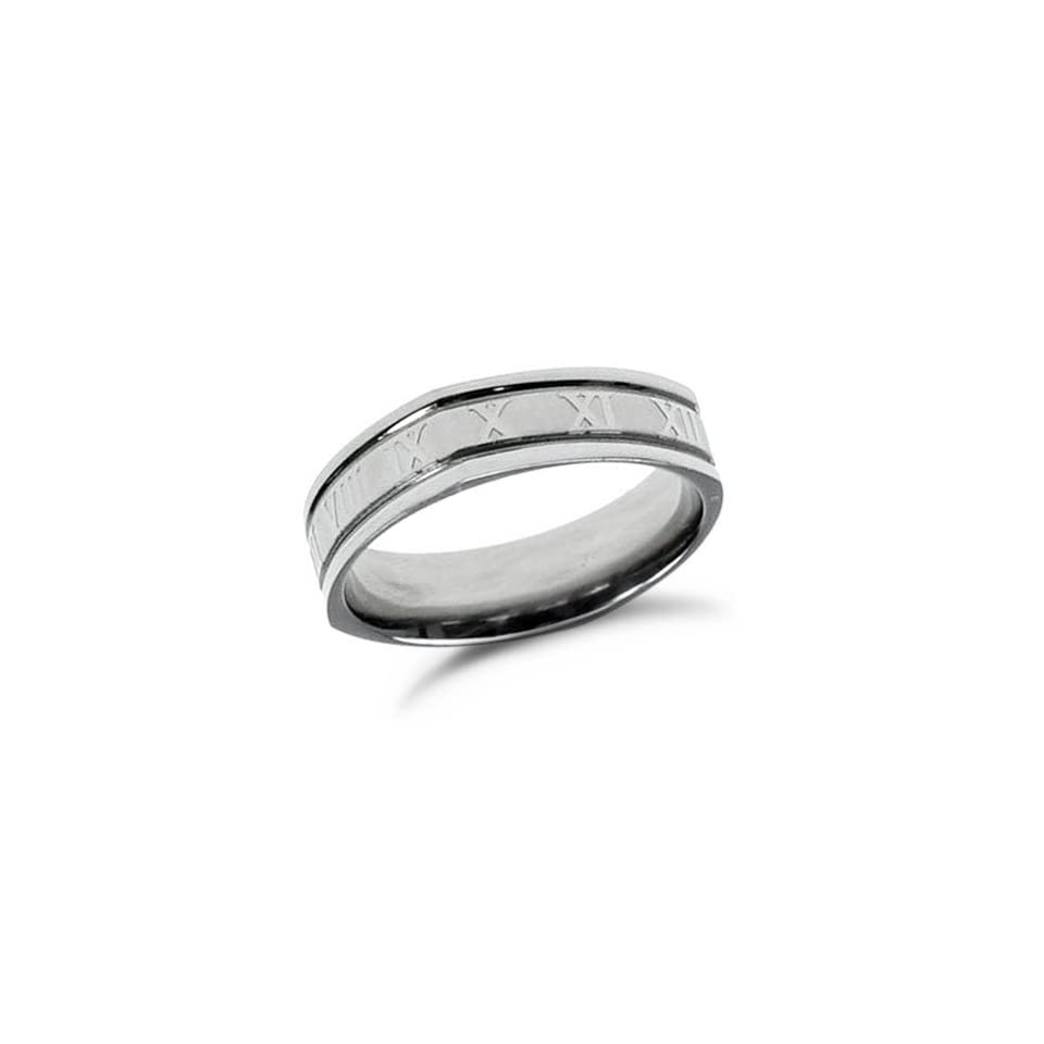 Roman Numerals Mens Stainless Steel Ring Band, 10