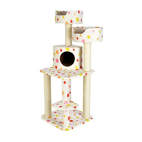 FTFDTMY Mehrschichtiger Katzenkletterrahmen, universeller Katzenhaus-Kratzbaum Integrierte Katzensprungplattform Sisal…
