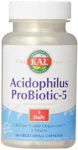 KAL Acidophilus Tablets, Probiotic-5 Capsules, 3 Bil, 60 Count Acidophilus 60 Tabs