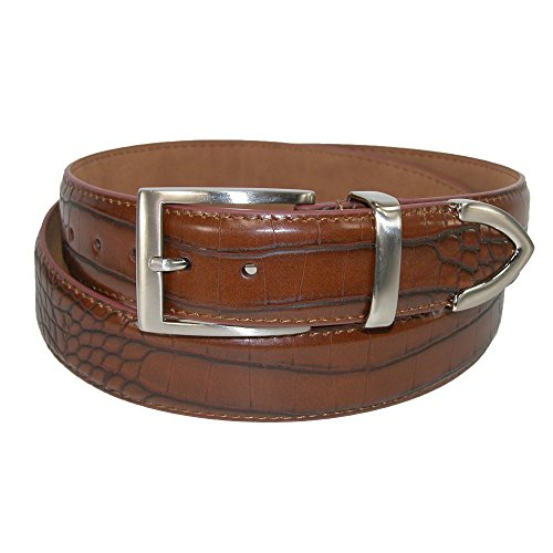 PGA Men's Croco Print 3 Piece Leather Belt, 38, Brown
