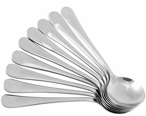 Stainless Steel Soup Spoons (8 pack), Great for Soup, Cereal, Ice Cream & More