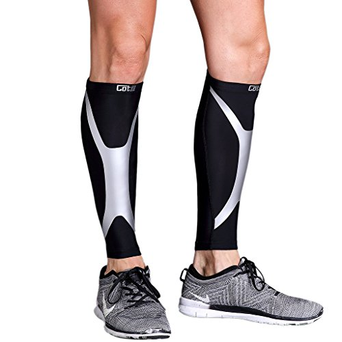 Calf Compression Sleeve - Cotill Energy Web - Footless Leg Compression Socks for Women Men - Calf Guard Sleeves for Shin Splints Running, Cycling, Basketball, Travel, Circulation & Support(Small)