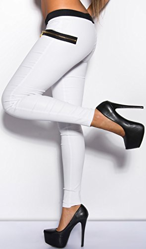 elegante Damenhose Hose in verschied. Farben * Gr. S M L XL * mit Stoffapplikation Leder-Optik (900700 Gr. L weiß) IN50579