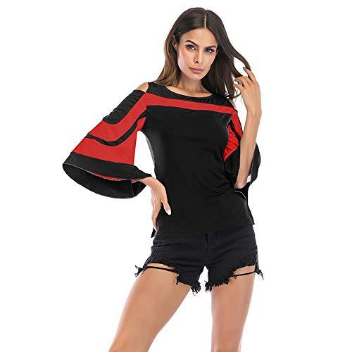 Maglia Maniche Camicia Sottile Senza Lunghe da Rosso Scollo Donna Rotondo Maniche Spalline Desshok e Senza con z4wdx47