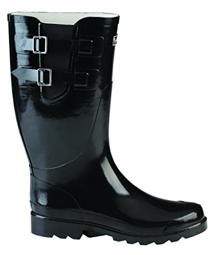 Puddletons Classic Double Strap Women's Rain Boots with Comfort Insole, Black - Custom Black Footwear Calf