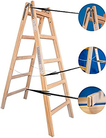 Escalera de madera de dos caras – Escalera 2 x 5 Tamaño Estándar 5 peldaños de escalera presupuesto Escalera: Amazon.es: Bricolaje y herramientas