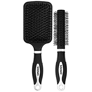 Amazon Brand – Solimo Round and Paddle Hair Brush Combo