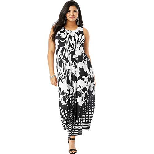 Roamans Women's Plus Size Print Maxi Dress - Black Flower Mix, 14/16 -