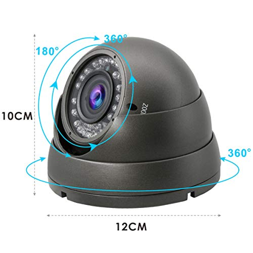 5MP 4MP Dome Super Hybrid Security Camera 1080P HD-TVI/CVI/AHD/960H CCTV Surveillance Security Camera 2.8-12mm Varifocal Lens Outdoor/Indoor 98ft IR Waterproof Day&Night Vision Dome Camera(Gray)