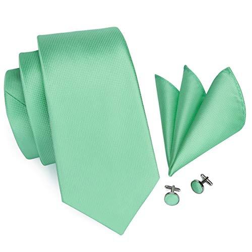 Hi-Tie Mens Mint Green Solid Tie Necktie with Cufflinks and Pocket Square Tie Set (Cufflinks Mint)