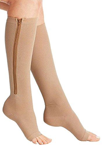 ASRocky Graduated Compression Zipper Socks Open Toe Anti-Fatigue Antimicrobial Mens Womens Foot Ankle Heel Support Sport Medical Zip Stockings Reduce Swelling Pain Relief (1Pr, BeigeZipSox, Sm/Med)