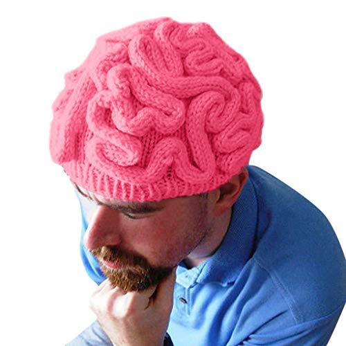 HomeMals Cerebrum Cap Halloween Knit Hat Brain Tissue Spoof Hat Unisex Hand Knitted Personality Brain Hat Hot Pink