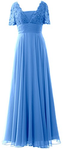 MACloth Women Short Sleeves Mother of the Bride Dress Lace Formal Evening Gown Azul