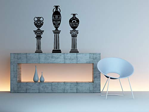 (Vinyl Sticker Urn On Columns Greek Vase Jar Jug Amphora Vine Emblem Ornament Architecture Mural Decal Wall Art Decor SA2266)