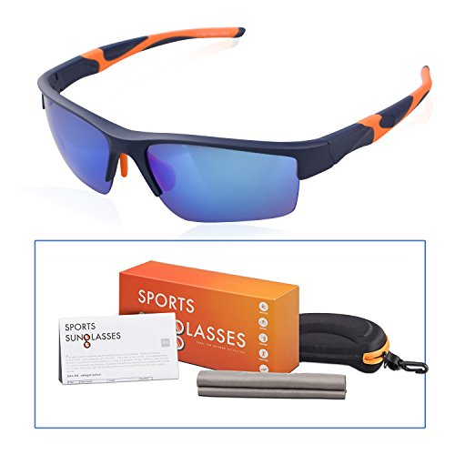 M-Better Sports Sunglasses for Men or Women Cycling Running Driving Fishing Coast Vocation Golf Baseball Glasses PC Superlight Frame(Blue - To Ray Which Bans Get